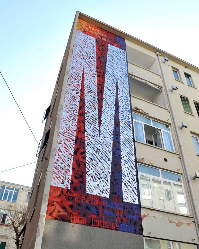 Public Art. Calligraphy mural by Said Dokins in Milano